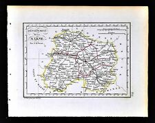 1841 Perrot France Map Departement Marne Chalons Vitry Epernay Reims Montmirail
