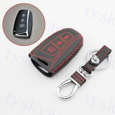 Leather Key Chain Holder Case Bag Shell Fob Cover For Hyundai Santa Fe 2013-2017