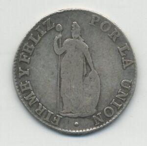 Peru 1835 B 2 Reales Cuzco mint Xrare KM 141 VF- silver coin