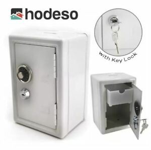 Hodeso Coin Bank Locker Safe Vault with Key Lock - WHITE