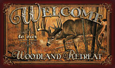 Door Mat 'Welcome to our Woodland Retreat' Deer Design Indoor Outdoor Rug
