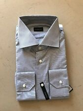 New $450 Ermenegildo Zegna Dress Shirt BR Blue STRP Size 44/17.5