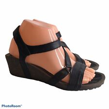 Teva 8 Black Leather Wedge Sandals Strappy Open Toe
