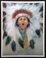 Jess DuBois Signed Poster 1985 from a painting of a Native American child, OBO