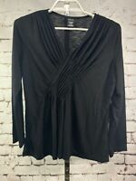 Rafaella Blouse Black Plunging Neckline V-Neck Long Sleeve Top Size Large EUC