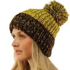 Unisex Big Chunky Thick Soft Knit Pom Pom Slouch Beanie Skull Ski Hat Mustard