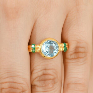 Scintillating Moonstone & Emerald 14K Gold Vermeil Over Sterling Silver Ring