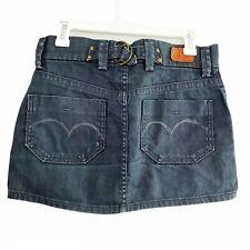 Levi's Women's Sz 0/25 Denim Jean Mini Skirt Retro Vintage Style Dark Wash