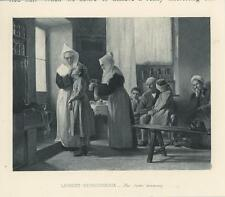 ANTIQUE NUN SISTER DISPENSARY MEDICAL CLINIC ATTENDING TO SICK MINIATURE PRINT