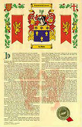 Your Name's History  and Coat of Arms printed on A3 sized Parchment.