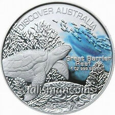 Discover Australia 2006 Great Barrier Reef Sea Turtle Pure Silver $1 Color Proof