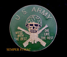 US ARMY SKULL MESS WITH THE BEST DIE LIKE THE RESE LAPEL HAT PIN SKULL M16 WOW