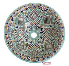 Marocchino lavabo lavandino in ceramica fatto a mano dipinti a mano 41 CM (rif. SW217)