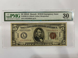 FR-2302 1934 A Series Hawaii WWII $5 Silver Certificate Note *PMG 30 Very Fine*