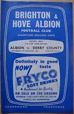 BRIGHTON & HOVE ALBION v DERBY COUNTY  F.A. CUP 3rd round 7th January 1961 EX