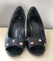 VTG 80'S *PIN-UP GLAM!! BLACK PINK BLUE LEATHER POLKA DOT PEEP TOE PUMP HEELS*6