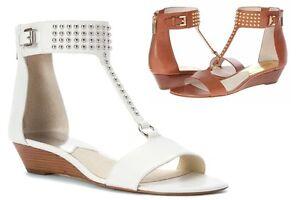 Michael Kors CELENA Studded Ankle Strap Back Zip Wedge Sandal White/Luggage New