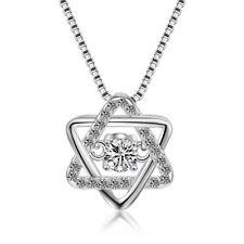 Stylish Korean Diamond Zircon Hexagram Pendant Necklace Silver Plated Gifts