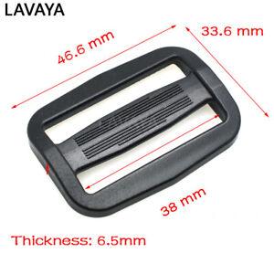 10pcs Plastic Curve Tri-Glide Ribbon Slider Adjustable Buckle Belt Buckle Black