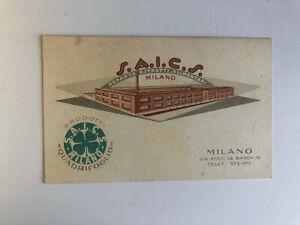 Cartolina Pubblicitaria Reparto Estratti Alimentari Saics Milano c13