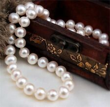"AAAA 9-10MM Genuine natural south sea white pearl necklace 18""L"
