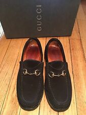 Women's Gucci Black Suede Gold Horsebit Loafers Shoes W/ Box Sz 6 Italy