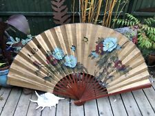 More details for very large vintage chinese wall fan hand painted signed flowers butterflies