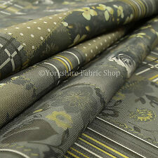 10 Metres Of Striped Floral Patchwork Pattern Grey Green New Upholstery Fabric