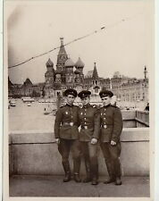 1950s Soviet ARMY Officers MEN in Military Uniform Moscow Russian vintage photo