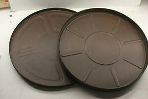 """Brown Empty Metal 35mm Film Tin ~ 12 3/4"""" Round - EMPTY CONTAINER F41"""