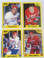 Eric Lindros 1989-90 7th Inning Sketch OHL 4-Cards # 1, 186, 195 & 196  (HK-108)