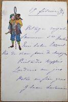 Menu: French 1906 Handwritten w/Japan/Japanese Vignette - Monkey & Woman