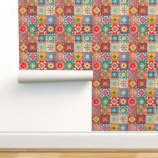 Removable Water-Activated Wallpaper Spanish Tiles Traditional Colorful Bohemian