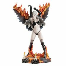 9.75 Inch Gothic Female Dark Angel w/ Flaming Wings Warrior Fairy Statue Girl