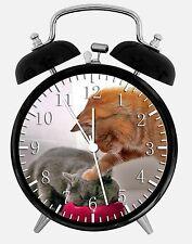 "Cute Funny Cat Alarm Desk Clock 3.75"" Room Office Decor E304 Nice For Gift"