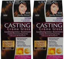 2 x LOREAL CASTING CREME GLOSS HAIR COLOUR 634 HONEY BROWN 100% Brand New