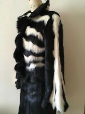Ladies Real Fur Designers Ruffled Front Skirt Suit Size M