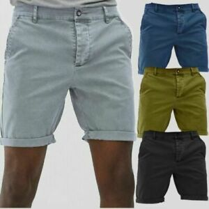 Mens Chino Shorts Twill Cotton Summer Casual Stretch Slim Fit Half Pants UK Size