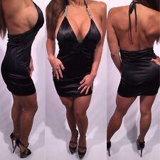 Connie's Formal Cocktail Stretch Black Satin Halter Mini Dress w/Jewel Ties S