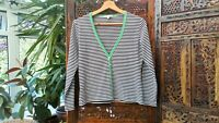 Laura Ashley Cotton Cardigan Top UK 12 US 8 EU 40 Black White & Green Striped