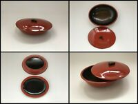 Japanese Wooden Bowl Vtg Lacquer Ware Lidded Red & Black Simple Tab S197