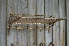 More details for a vintage style solid aged brass railway train luggage rack wall shelf
