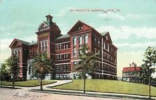 Erie Pennsylvania~St Vincent's Hospital on a Hill~Red Brick~Young Trees~1908
