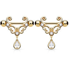 """Pair of CZ Tear Drop Dangle Heart 14K Gold Plated Nipple Rings Barbell 14g 9/16"""""""