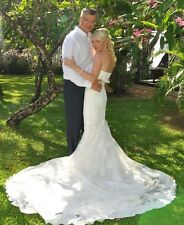 Pronovias Obelix Wedding Dress UK 8 Stunning Strapless RRP £1800 lace beading