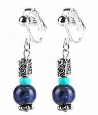 Clip On Fashion Dangle Drop Earrings Blue Lapis Beaded & Turquoise Silver