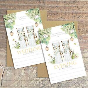 WEDDING INVITATIONS BLANK RUSTIC GARDEN FOLIAGE & FLORAL PACKS OF 10