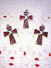 """HOLY SPIRIT RED Enamel CROSS'S with Stone LARGE 1-5/8"" Lot/3 - SPLENDID!  *NEW*"