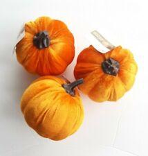 """Orange Velvet Pumpkins Set of 3  4.5"""" New"""