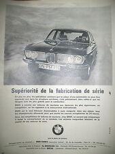 PUBLICITE DE PRESSE BMW 2800 AUTOMOBILE LE PLAISIR DE CONDUIRE FRENCH AD 1971